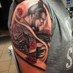 There are thousands of years of history behind every Samurai tattoo, so everything has to be done perfectly. Here are 70 great samurai tattoo designs. Arm Tattoos Japanese, Japanese Warrior Tattoo, Japanese Tattoo Designs, Geisha Tattoos, Japan Tattoo, Tattoo Designs And Meanings, Tattoo Designs Men, Irezumi, Manga Samurai