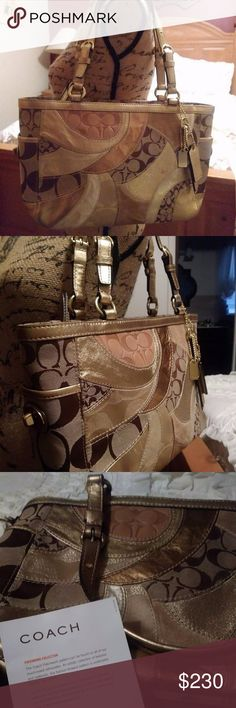 """Coach Signature Gallery East West Patchwork Tote Authentic, rare, & never used Coach Signature Gallery East West Gold Patchwork Tote F14004! Mosaic pattern of leather, suede & jacquard fabric. Top-zip closure w/ metallic gold leather trim. Interior is fully lined w/ satin purple fabric. Coach Signature """"C"""" Jacquard Fabric/Shiny Gold Leather/ Brown Signature Lurex/ Suede Gold Fabric. Shiny gold leather trim. 2 side pockets with turn lock closure. Interior cellphone, multi-function pocket…"""