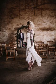 Decoración de boda industrial