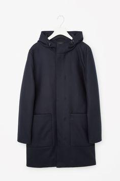 COS image 1 of Wool anorak in Navy 225 euro