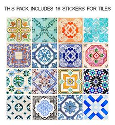 Tuiles Traditionnelle Espagnole - Autocollants de tuiles - Sticker de Décoration pour Carrelage - PAQUET DE 16