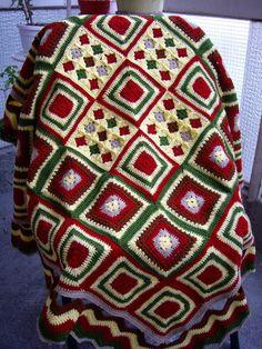 Granny Square Crochet Blanket...Knitting Patchwork por GalyaKireva