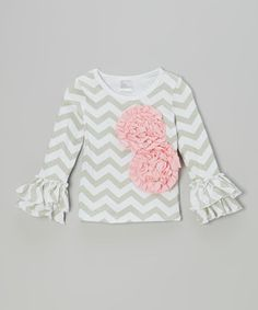 Look at this #zulilyfind! Gray & Pink Floral Ruffle Tee - Infant, Toddler & Girls by Tutus by Tutu AND Lulu #zulilyfinds