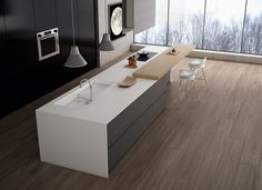 Linetops, is a high-performance porcelain Slab, manufactured with the finest raw materials. Linetop provides an outstanding size in 6 contemporary designs. Fish Design, Küchen Design, Interior Design, House Design, Woodland House, Black Windows, Super White, Small Patio, Colorful Furniture