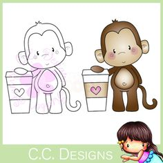 C.C. Designs Rubber Stamp - Latte Monkey Adult Coloring, Colouring, Fabric Tape, Safari Animals, Digital Stamps, Book Crafts, Digital Image, Sewing Crafts, Monkey