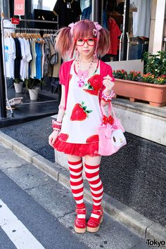 Tokyo Fashion: the always-adorable Moco wearing Angelic Pretty, Metamorphose, Rosy Future & My Melody on the street in Harajuku.