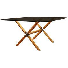 1stdibs.com | Italian Glass Top Table With Birdseye Maple And Brass Inlay Base