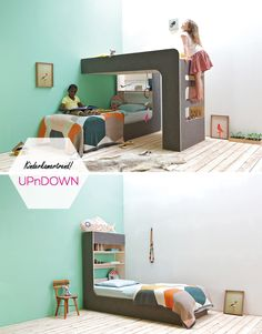 Dutch Design: Thomas Durner designed the loft bed UPnDOWN - the loft bed that can also be changed. E Room, Baby Kind, Little Girl Rooms, Kid Spaces, Kid Beds, Kids Furniture, Baby Boys, Room Inspiration, Kids Bedroom