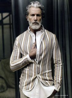 ♂ Masculine & Elegance man's fashion wear man with silver hair Aiden Shaw by Stéphane Gallois for Le Figaro.
