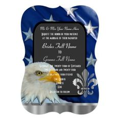 """Patriotic American flag and eagle wedding 5"""" X 7"""" Invitation Card Classy patriotic American flag and bald eagle formal traditional wedding invite, on a star spangled banner with silver fleur de lys detail professional background surrounding a grey chalkboard style invite, easily personalize the bride and grooms names to the templates to create a unique custom invitation for your special romantic stylish american, 4th of july or military themed occasions and celebrations. Visit the…"""