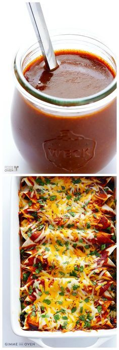 Homemade Enchilada Sauce -- you'll never go back to the store-bought (processed) stuff again.  This homemade version is quick, easy, and UNBELIEVABLY good! | gimmesomeoven.com #mexican