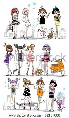 illustration vector teenage girl set by yusuf doganay, via Shutterstock