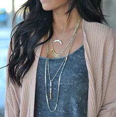 Stella & Dot Riad Layering necklace, Hand beaded and braided strands form this versatile, wear-everywhere mixed metal piece. Semi precious rose quartz tassel falls from a delicate center strand. Wear all strands together, separate, or mix and match to suit your look.