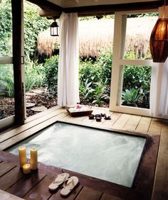 Great Idea for a wooden deck to include a Jacuzzi :)