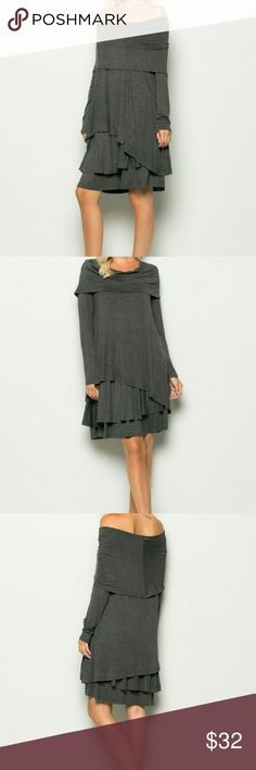 Gray Tiered, Off The Shoulder Midi Dress This gray women's off the shoulder, tiered midi dress is beautiful on!  Great material, mid- weight. You may also wear w/leggings or jeans for colder weather ❤ Fit is loose. Sleeves are full length.  *95% Rayon *5% Spandex Boutique  Dresses Midi
