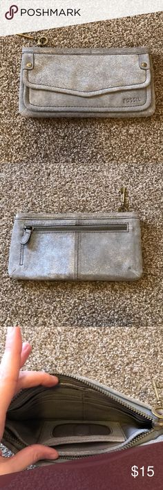 Fossil wallet Very cute silvery fossil wallet; only used a couple of times so a little worn in corners as pictured but not noticeable and still In VERY good condition Fossil Bags Wallets