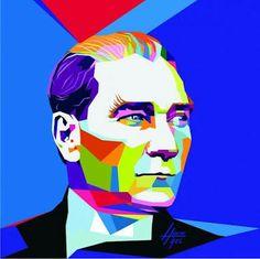 Gazi Mustafa Kemal Atatürk Pour Painting, Stencil Painting, Painting Lessons, Art Lessons, Pop Art Illustration, Pop Art Design, Arte Popular, Beginner Painting, Diy Art
