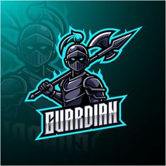 Logotipo da mascote de esports do guardi. Logo D'art, Badge, Team Logo Design, Sports Team Logos, Esports Logo, Mundo Comic, Retro Logos, Gaming Wallpapers, Adobe Illustrator
