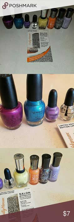 Opi,  Sephora by OPI  and Sally Hansen nail polis 7 colors and one base coat go wild nail appliques  new and used. All over 90% full Opi Makeup