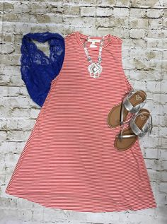 -  Stripe Swing Dress $25 - Lace Bralette $15 - Sandals size 6 $20 - Necklace $35  Comment below with PayPal to purchase and ship or comment with size for 24 hour hold  #repurposeboutique#hipandtrendy#shoprepurpose#boutiquelove#summer#summerready#4thofjuly