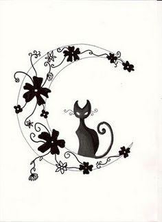 cat tattoo design. I like the moon, I would change the flowers to either Cherry Blossom or the flowers my best friend @Melly Eve draws<3