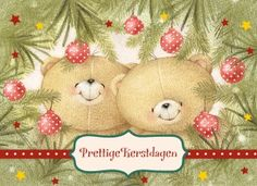 Kerstkaart - beren-verscholen-tussen-dennentakken