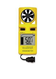 Lacrosse Technology  Handheld Wind Anemometer With Lanyard - Yellow - One Size
