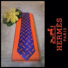 Authentic-HERMES-Mens-Luxury-Tie-Blue-with-Orange-Feathers-995-SA-w-Box