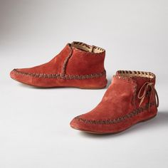 DANCING LEAVES BOOTIES -- These supple, suede moccasin-inspired booties are a clever hybrid of style and comfort with leather lacing. Imported. Whole and half sizes 6 to 10, 11.