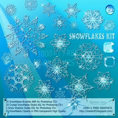 Snowflakes Kit - Brushses ABR - Styles ASL - Cliparts PNG - High Quality - Christmas Stuff