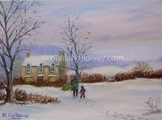 """Bringing Home the Christmas Tree"" by Nuala Holloway - Oil on Canvas #Christmas #IrishArt #OilPainting"