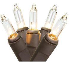 Asstd National Brand Set Of 50 Clear Mini Christmas Lights 2.5 Bulb Spacing with Brown Wire #affiliate