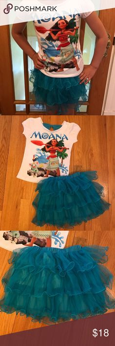 New Girl's Disney Moana Skirt Set New Girl's Disney Moana Skirt Set. Cotton/Polyester blend. Various Sizes available, see below. Super cute great for spring/summer or Disney!! Matching Sets