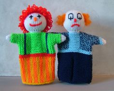 Glove puppets: Send in the Clowns pattern by Woolly Thoughts - Ravelry: Glove puppets: Send in the Clowns pattern by Woolly Thoughts 2 pounds - Knitting Club, Knitting For Kids, Loom Knitting, Baby Knitting, Teddy Bear Knitting Pattern, Animal Knitting Patterns, Crochet Patterns, Glove Puppets, Puppets For Kids