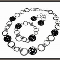 glass black granite beads and interlocking gunmetal rings