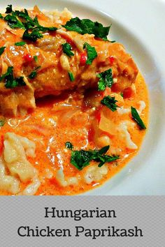 This classic Hungarian Chicken Paprikash recipe is comfort food at it's finest! An authentic easy chicken paprikash recipe with Hungarian noodles (nokedli) Chicken Paprikash With Dumplings, Hungarian Chicken Paprikash, Hungarian Paprika Chicken, Turkey Recipes, New Recipes, Chicken Recipes, Cooking Recipes, Healthy Recipes, Recipies