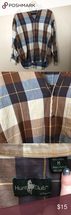 Plaid button down! Blue and brown Hunt Club button down! Hunt Club Shirts Casual Button Down Shirts