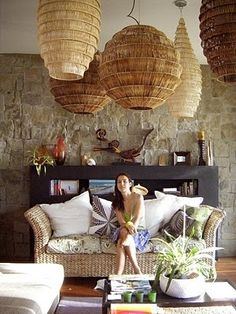 Wicker Light Brown Lamp Shades. These would work brilliantly with Plumen bulbs (see the whole range at Plumen.com)