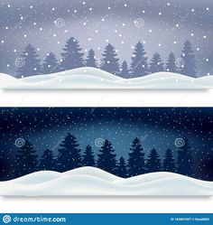 Illustration about Two winter landscape background day and night for the banner. Editable, there is a gradient mesh. Illustration of editable, background, basis - 163801857 Gradient Mesh, Landscape Background, Winter Landscape, Winter Collection, Banner, Tapestry, Night, Day, Illustration