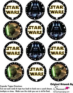 Cupcake Toppers, Star Wars, Party Decorations - Free Printable Ideas from Family Shoppingbag.com