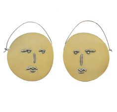Face Earrings , Espejos for Borgo de Nor , gold plated brass and silver ....available in the online store now £350 www.sejewellery.com Face Earrings, Mirror Image, Washer Necklace, Plating, Clock, Projects, Handmade, Jewelry, Evans