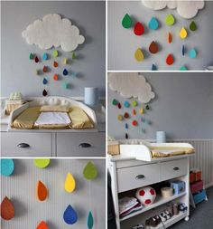 DIY kids room decoration projects- Cute rainy clouds