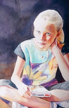 """Having completed more than 400 watercolor portraits of children, Jane Paul Angelhart knows how to avoid potential problems with muddy paints, uncharacteristic poses, nervous children, and overbearing mothers.  Like what you read? Become a Watercolor subscriber today! by M. Stephen Doherty  Ballerinas1998, watercolor, 30 x 22. Collection the artist. """"I caution other artists…"""