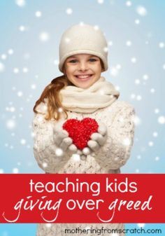 At Christmas time, our kids tend to think of all they can GET. But how can we teach our kids the spirit of giving instead of greediness? Read this post for some ways to emphasize giving instead of getting not only at Christmas, but all year round!