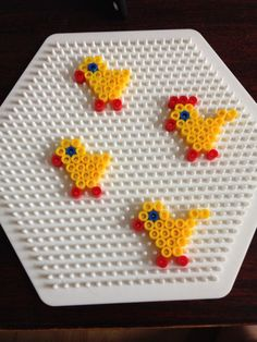 Easter ornaments hama perler beads by Dorte Marker Hama Beads Design, Hama Beads Patterns, Beading Patterns, Loom Patterns, Loom Beading, Bead Crafts, Diy And Crafts, Crafts For Kids, Perler Bead Art