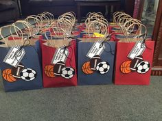 Gft bag sports theme birthdays party in 2019 спорт, открытки Sports Party Favors, Sports Themed Birthday Party, Ball Birthday Parties, Football Birthday, Party Favor Bags, Birthday Party Favors, 2nd Birthday, Birthday Ideas, Kids Sports Party