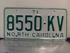 1971+North+Carolina+Rat+Rod+License+Plate+Tag+NC+#8550-KV+YOM