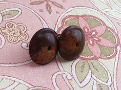 Antique - Wooden button earrings