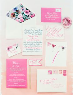 floral and pink stationery