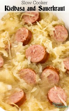 Slow Cooker Kielbasa and Sauerkraut is a perfect dinner for Fall. This German dish only contains five ingredients and is ready in a few hours. ‪ ‪ ‪ - Slow Cooker Kielbasa and Sauerkraut Recipe on Sugar, Spice and Family Life slow cooker dishes Kielbasa And Sauerkraut Crockpot, Slow Cooker Kielbasa, Sauerkraut Recipes, Crock Pot Slow Cooker, Slow Cooker Recipes, Cooking Recipes, Crockpot Saurkraut Recipes, Recipes With Kielbasa, German Sauerkraut Recipe